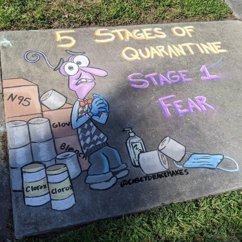 Artist Turns A Boring Sidewalk Into A Gallery Of Disney Characters In Quarantine